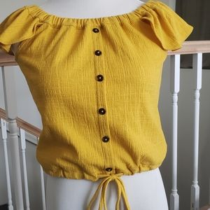 Madewell Off the Shoulder Top in Mustard Yellow